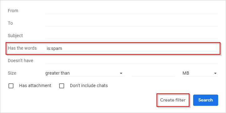 Gmail Create Filter is:spam