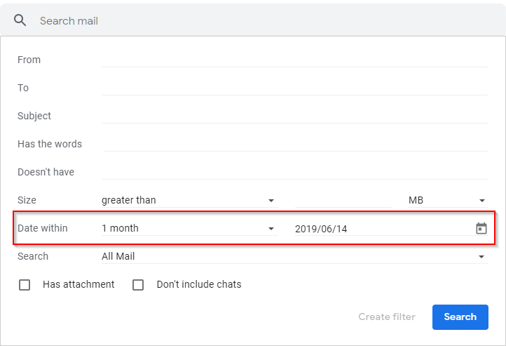 Gmail Filters Menu Date Within Field