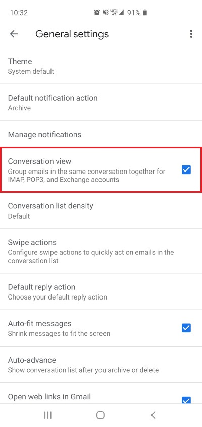 Gmail Mobile Disable Conversation View