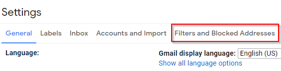 Gmail Settings Filters and Blocked Addresses Tab