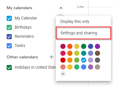 Google Calendar Settings and Sharing