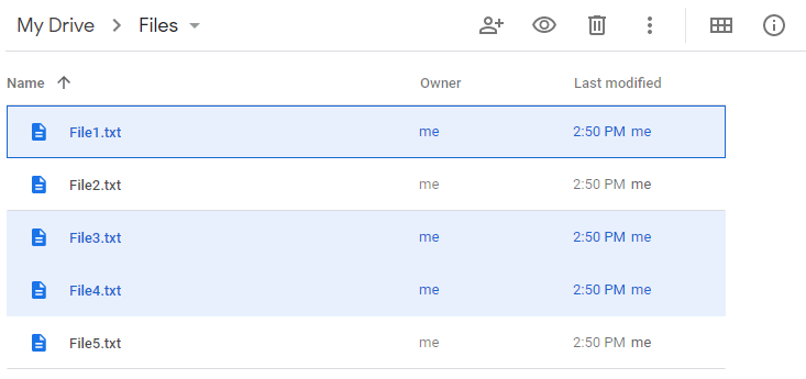 Google Drive Multiple Files Selected With Ctrl