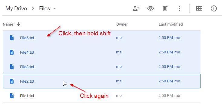 Google Drive Shift Click Select