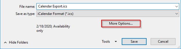 Outlook Export Calendar More Options Button