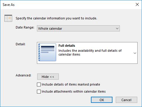 Outlook Export Calendar More Options Window