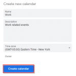 Google Calendar Create New Calendar Form
