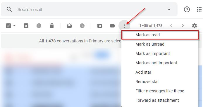 Gmail Mark All as Read at Once