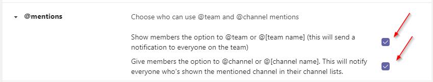 Microsoft Teams Enable @everyone Mentions