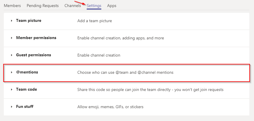 Microsoft Teams Mentions Setting