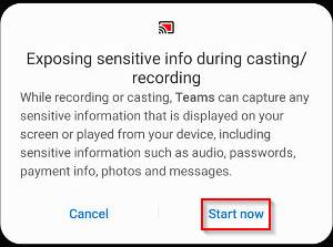 Microsoft Teams Mobile App Confirm Sensitive Info During Casting