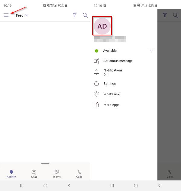 Microsoft Teams Mobile App Tap Profile Picture