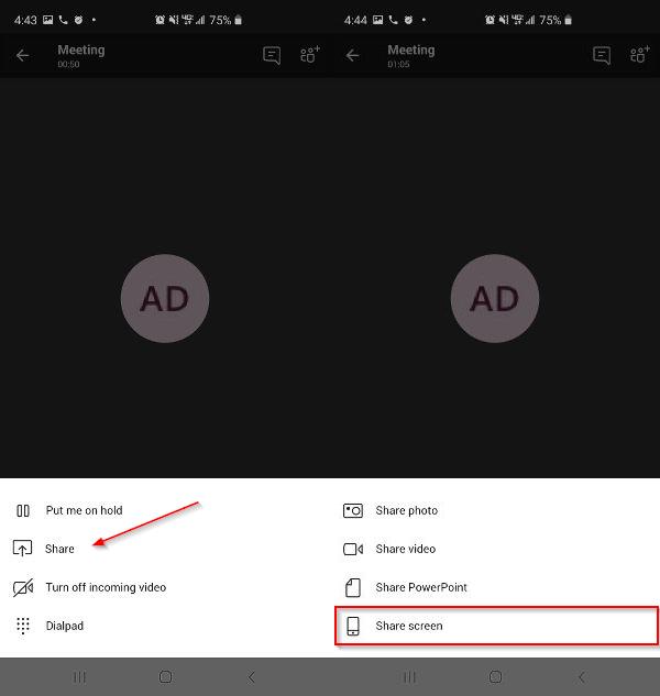 Microsoft Teams Share Screen on Mobile App