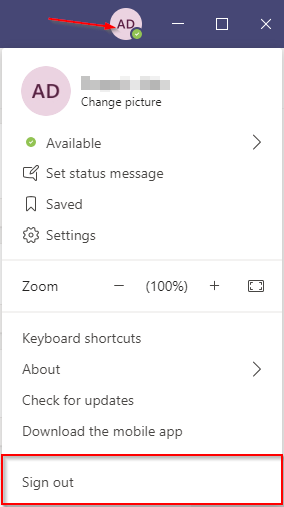 Microsoft Teams Sign Out Button