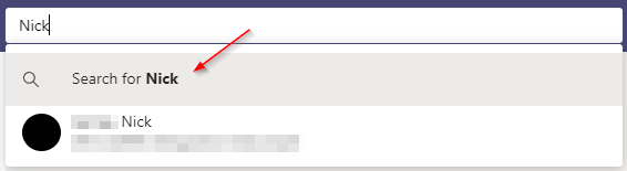 Search for Name in Microsoft Teams