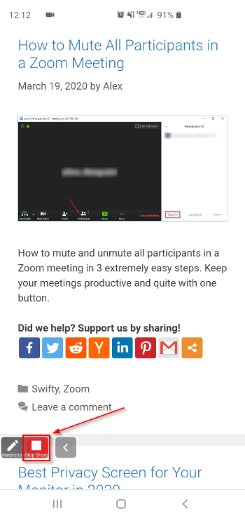 Zoom Meeting Stop Sharing Button on Mobile