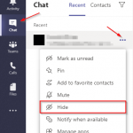 Microsoft Teams Hide Chat