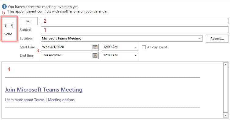 Create Microsoft Teams Meeting in Outlook