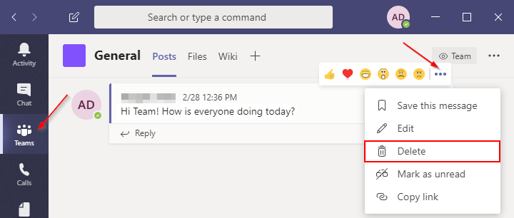 Delete Team Chat Message in Microsoft Teams
