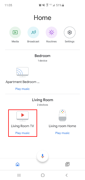 Google Home App Tap Device to Cast Screen to