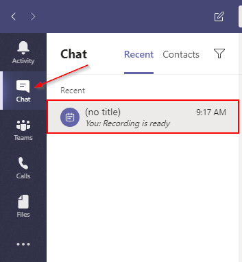 Microsoft Teams Recent Meeting Chat