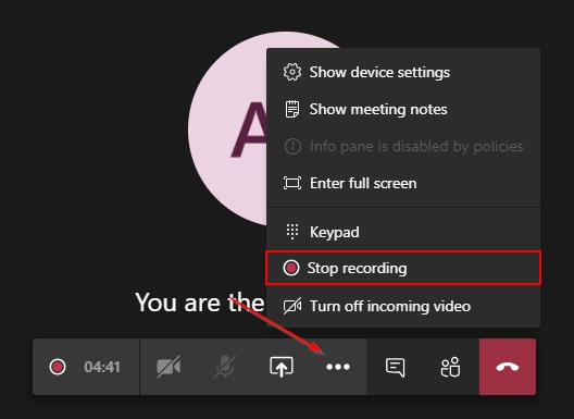 Microsoft Teams Stop Recording