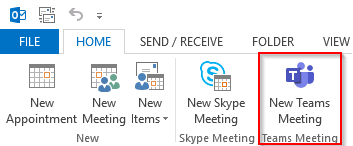 New Teams Meeting Button in Outlook