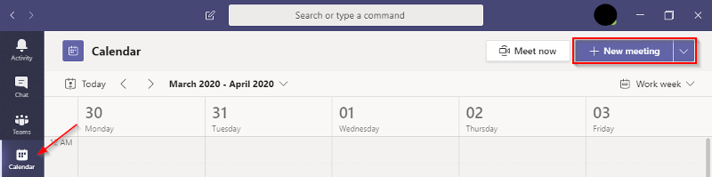 Schedule a New Meeting in Microsoft Teams