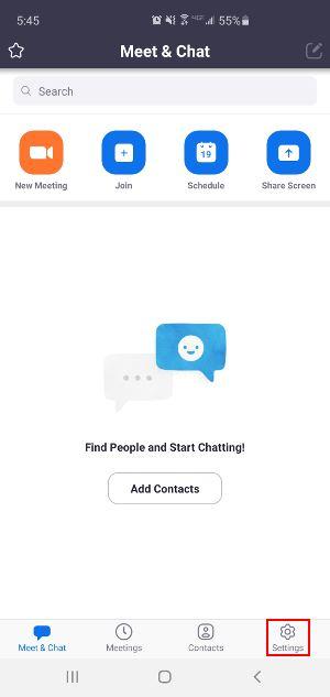 Settings Icon in Zoom App