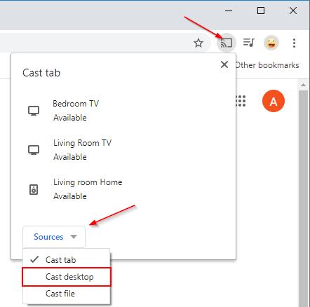 Sources Button in Chromecast menu in Google Chrome