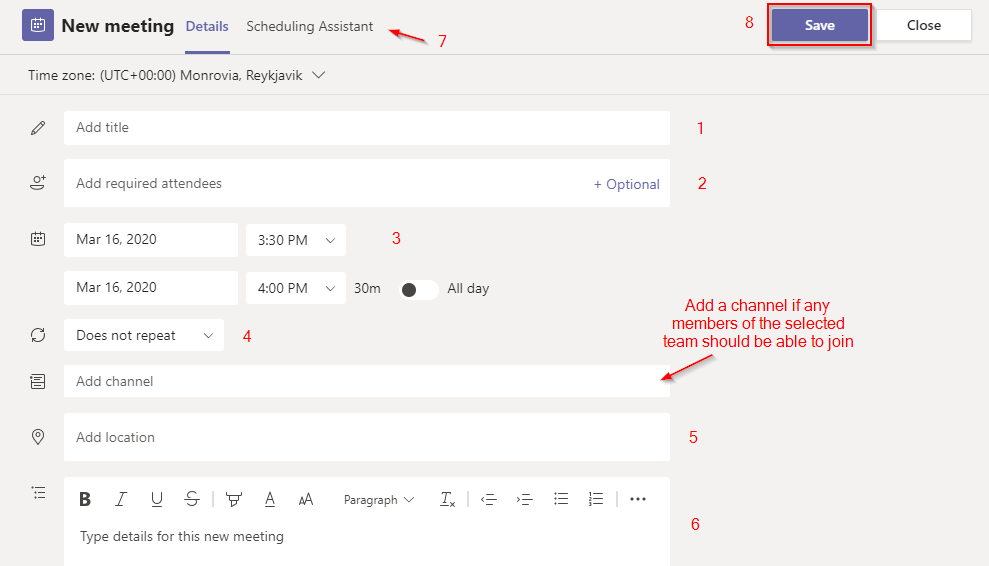 Steps to Create a New Meeting in Microsoft Teams