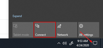 Windows 10 Action Center Connect Button Zoom to TV on Roku