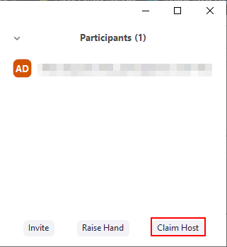 Zoom Claim Host Button in Participants List
