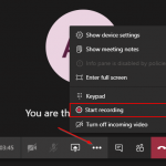 Microsoft Teams Start Recording Option