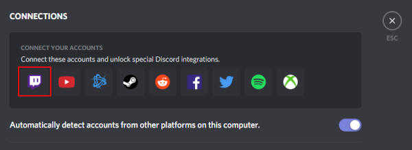 Discord Twitch Icon in Connections Box