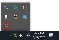 Dropbox Icon in System Tray