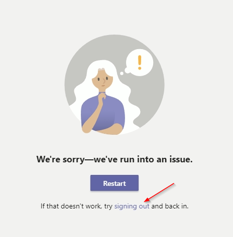 Microsoft Teams Sign Out Link on Error Screen