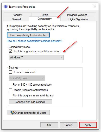 Teams.exe Compatibility Mode Settings