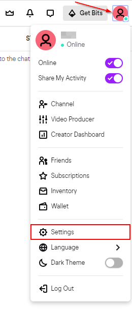 Twitch Account Settings Option