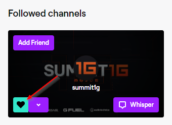 Twitch Unfollow Channel Button