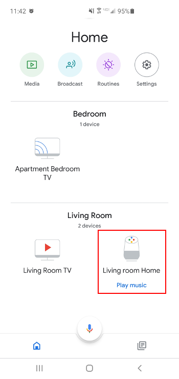 Google Home Device in Google Home App