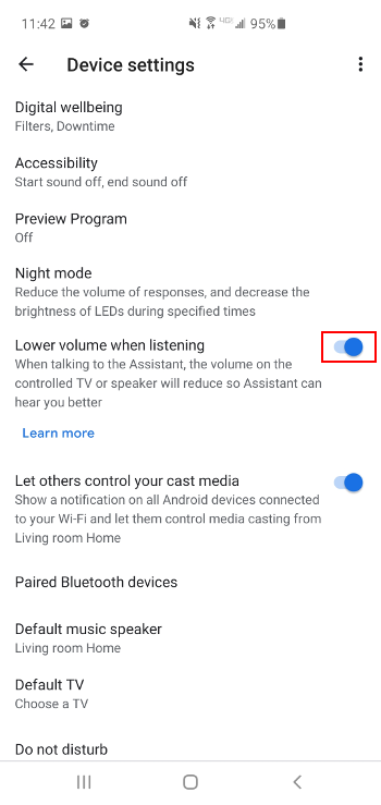 Google Home Disable Turning Down TV Volume