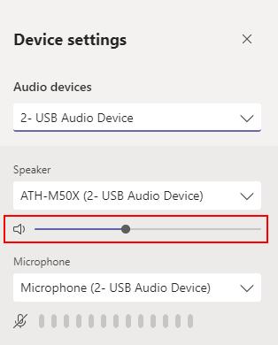 Microsoft Teams Adjust Volume Sliders