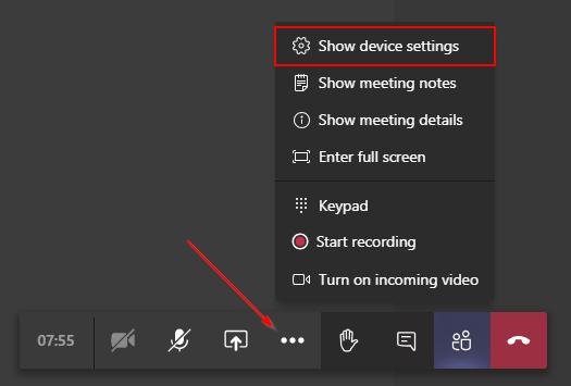 Microsoft Teams Show Device Settings Option