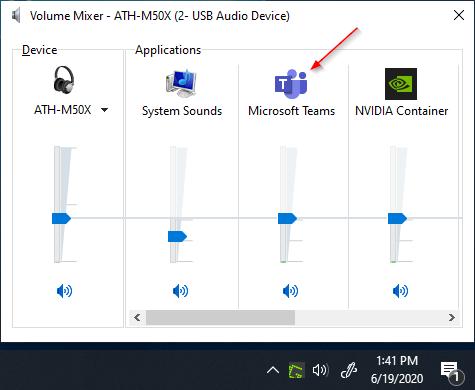 Microsoft Teams in Windows Volume Mixer