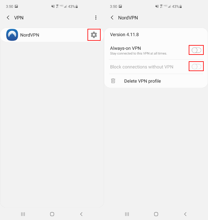 NordVPN Android VPN Profile Enable Kill Switch