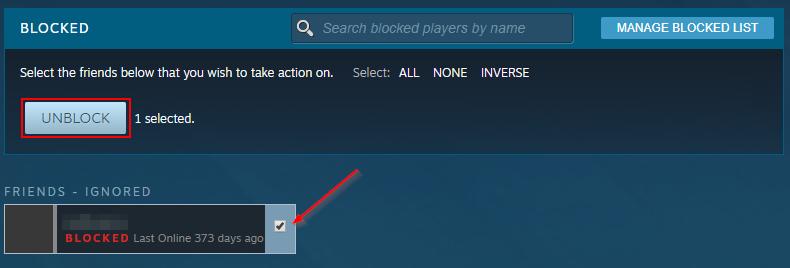 Steam Unblock User Button