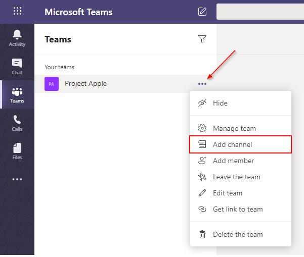 Microsoft Teams Add Channel Option