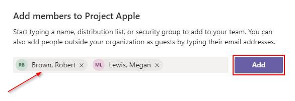 Microsoft Teams Add Members to Team Window