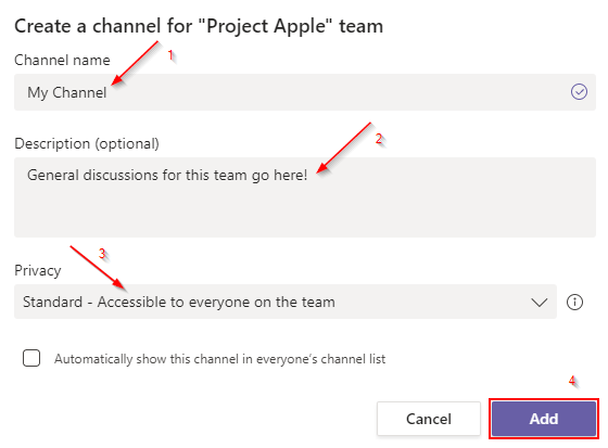 Microsoft Teams Create Channel Steps