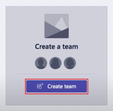 Microsoft Teams Create Team Button